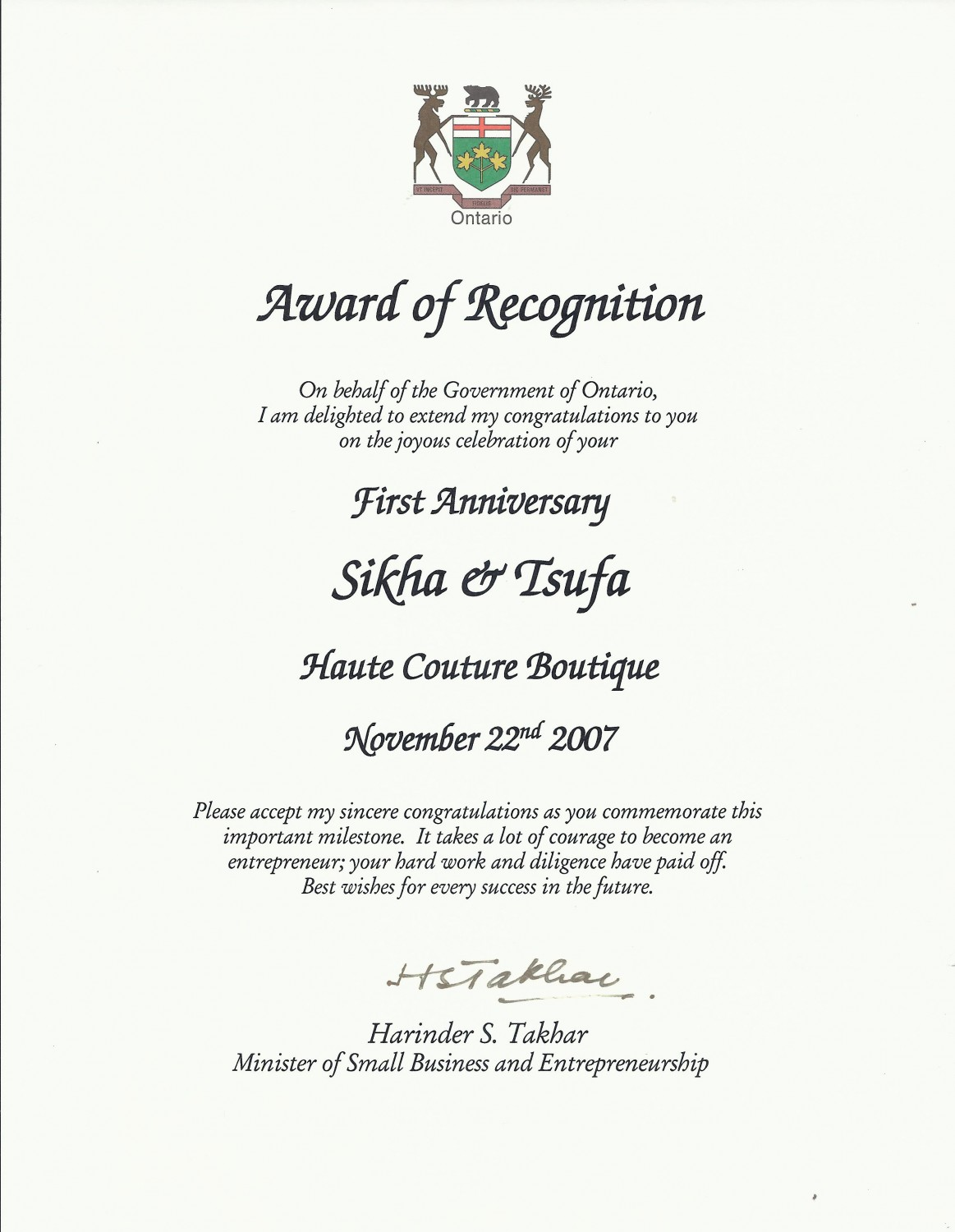 Award of Recognition - Gov't of ONT - Minister of Small Business and Entrepreneurship - 2007 _ TSUFA
